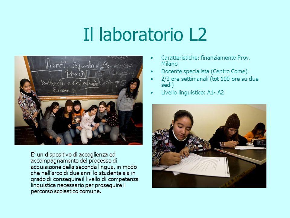 Il laboratorio L2 E un dispositivo di accoglienza ed accompagnamento del processo di acquisizione della seconda lingua, in modo che nellarco di due anni lo studente sia in grado di conseguire il livello di competenza linguistica necessario per proseguire il percorso scolastico comune.