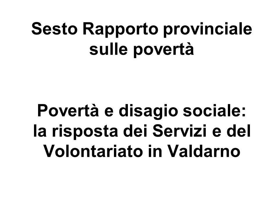 Sesto Rapporto provinciale sulle povertà Povertà e disagio sociale: la risposta dei Servizi e del Volontariato in Valdarno