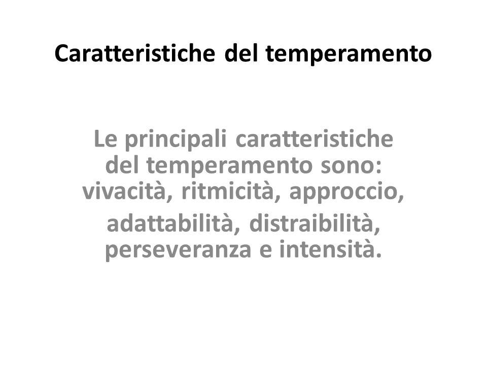 Caratteristiche del temperamento Le principali caratteristiche del temperamento sono: vivacità, ritmicità, approccio, adattabilità, distraibilità, per