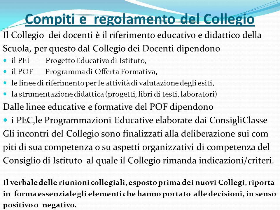 Compiti e regolamento del Collegio Il Collegio dei docenti è il riferimento educativo e didattico della Scuola, per questo dal Collegio dei Docenti di
