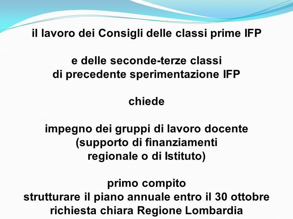 il lavoro dei Consigli delle classi prime IFP e delle seconde-terze classi di precedente sperimentazione IFP chiede impegno dei gruppi di lavoro docen