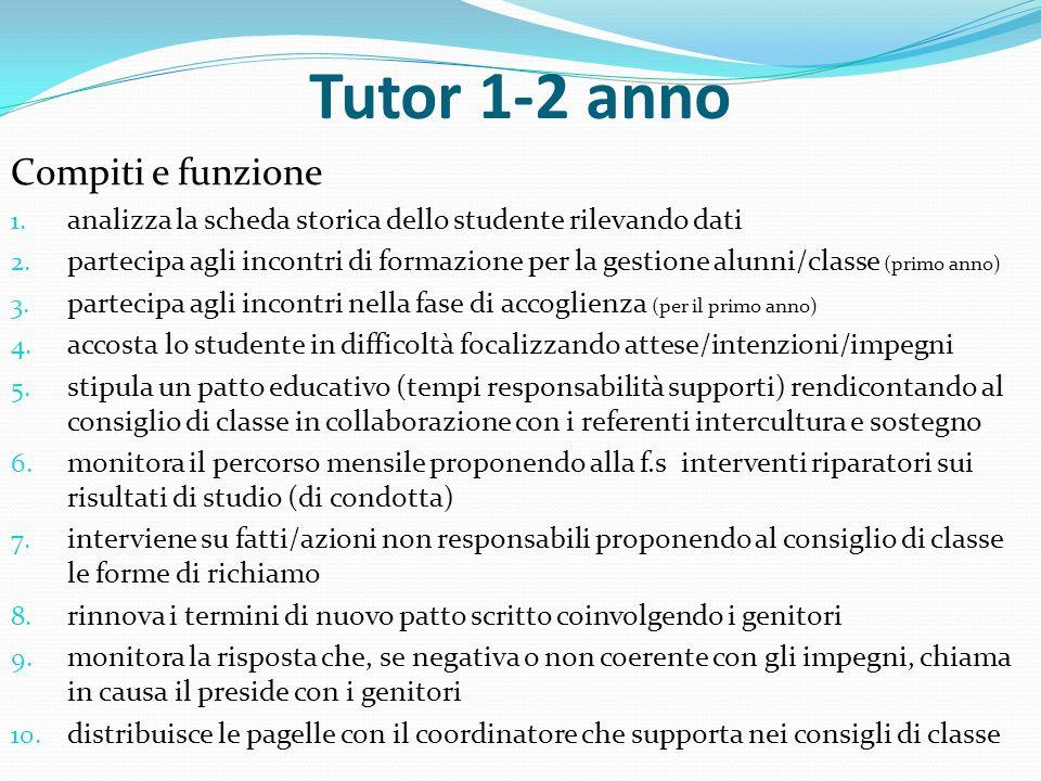 Tutor 1-2 anno Compiti e funzione 1. analizza la scheda storica dello studente rilevando dati 2. partecipa agli incontri di formazione per la gestione