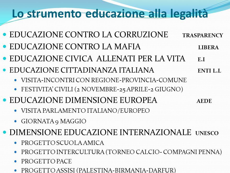 Lo strumento educazione alla legalità EDUCAZIONE CONTRO LA CORRUZIONE TRASPARENCY EDUCAZIONE CONTRO LA MAFIA LIBERA EDUCAZIONE CIVICA ALLENATI PER LA