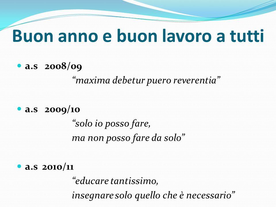 Buon anno e buon lavoro a tutti a.s 2008/09 maxima debetur puero reverentia a.s 2009/10 solo io posso fare, ma non posso fare da solo a.s 2010/11 educ