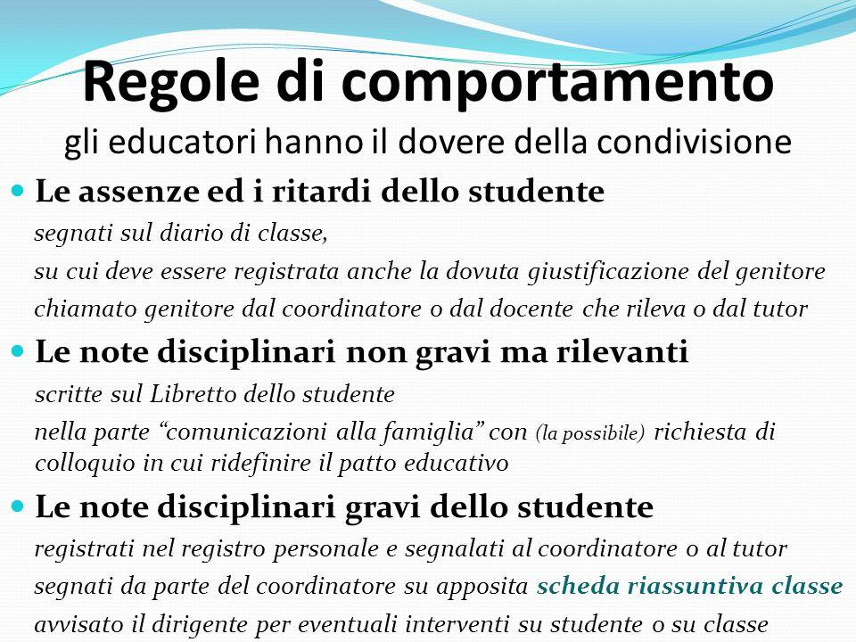 Regole di comportamento gli educatori hanno il dovere della condivisione Le assenze ed i ritardi dello studente segnati sul diario di classe, su cui d