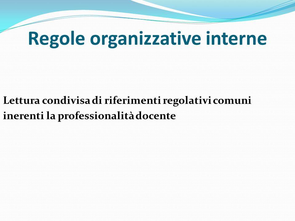 Regole organizzative interne Lettura condivisa di riferimenti regolativi comuni inerenti la professionalità docente