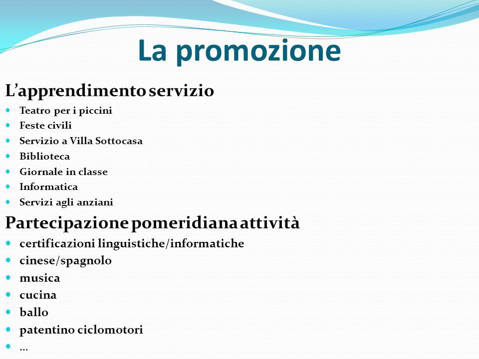 La promozione Lapprendimento servizio Teatro per i piccini Feste civili Servizio a Villa Sottocasa Biblioteca Giornale in classe Informatica Servizi a