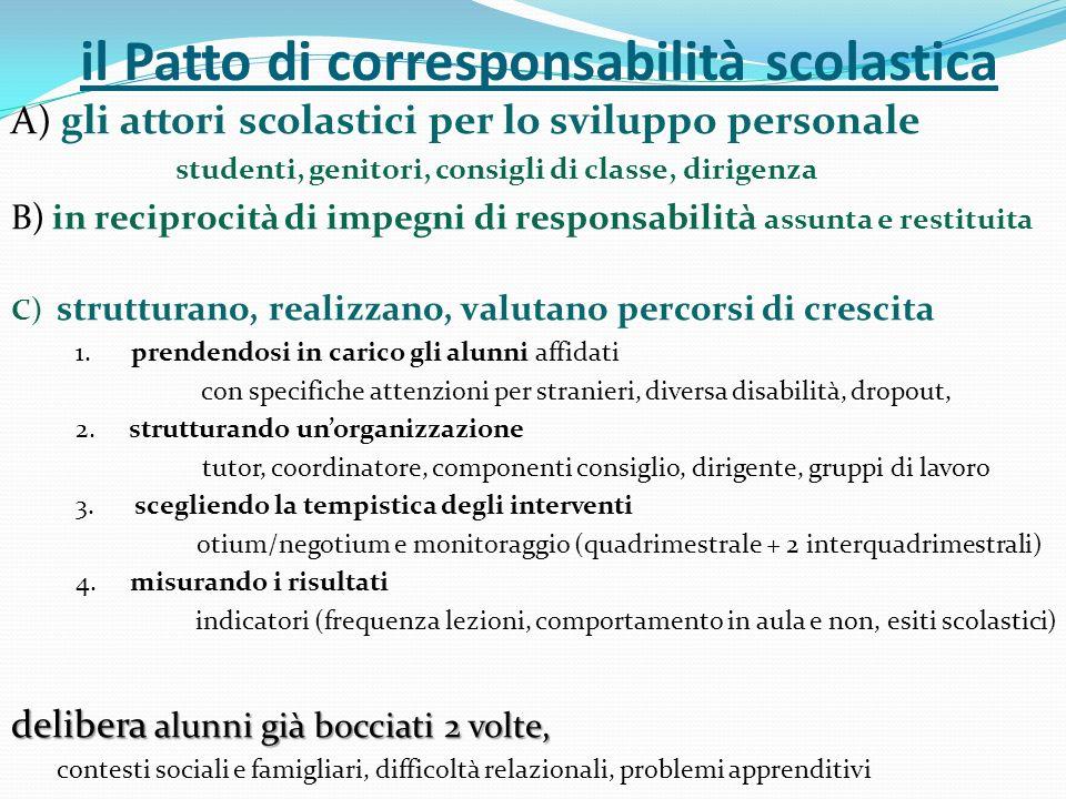 il Patto di corresponsabilità scolastica A) gli attori scolastici per lo sviluppo personale studenti, genitori, consigli di classe, dirigenza B) in re
