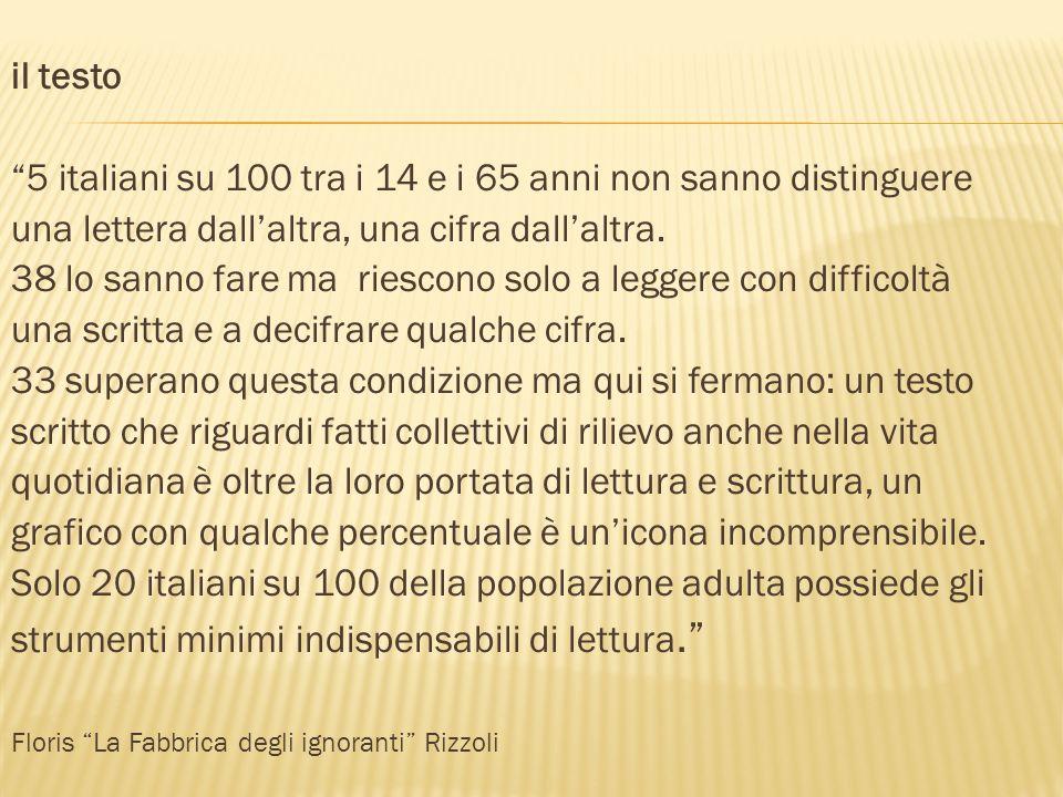 il testo 5 italiani su 100 tra i 14 e i 65 anni non sanno distinguere una lettera dallaltra, una cifra dallaltra. 38 lo sanno fare ma riescono solo a