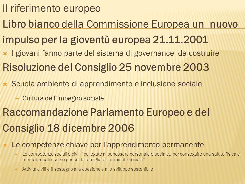 Il riferimento europeo Libro bianco della Commissione Europea un nuovo impulso per la gioventù europea 21.11.2001 I giovani fanno parte del sistema di