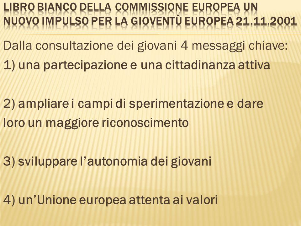 Dalla consultazione dei giovani 4 messaggi chiave: 1) una partecipazione e una cittadinanza attiva 2) ampliare i campi di sperimentazione e dare loro
