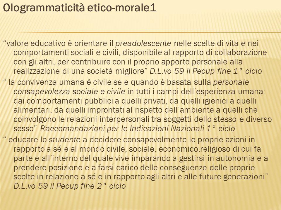 Ologrammaticità etico-morale1 valore educativo è orientare il preadolescente nelle scelte di vita e nei comportamenti sociali e civili, disponibile al