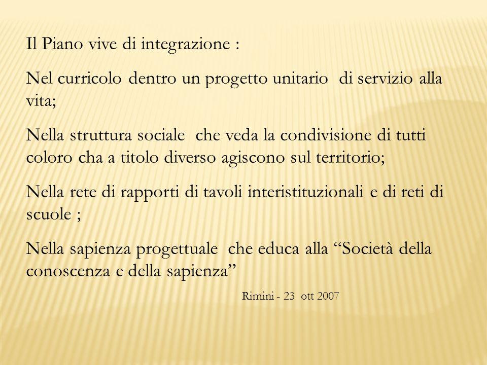 Il Piano vive di integrazione : Nel curricolo dentro un progetto unitario di servizio alla vita; Nella struttura sociale che veda la condivisione di t