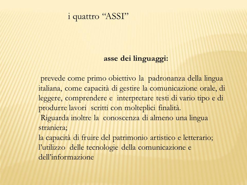 i quattro ASSI asse dei linguaggi: prevede come primo obiettivo la padronanza della lingua italiana, come capacità di gestire la comunicazione orale,