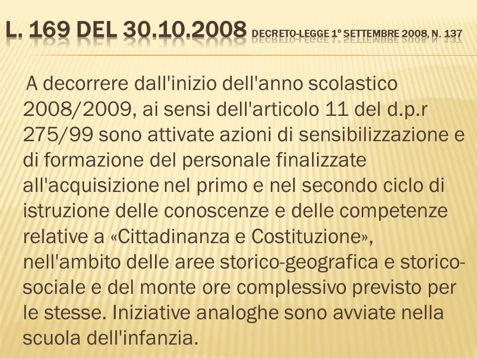 A decorrere dall'inizio dell'anno scolastico 2008/2009, ai sensi dell'articolo 11 del d.p.r 275/99 sono attivate azioni di sensibilizzazione e di form