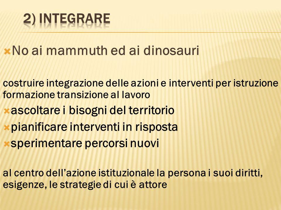 No ai mammuth ed ai dinosauri costruire integrazione delle azioni e interventi per istruzione formazione transizione al lavoro ascoltare i bisogni del