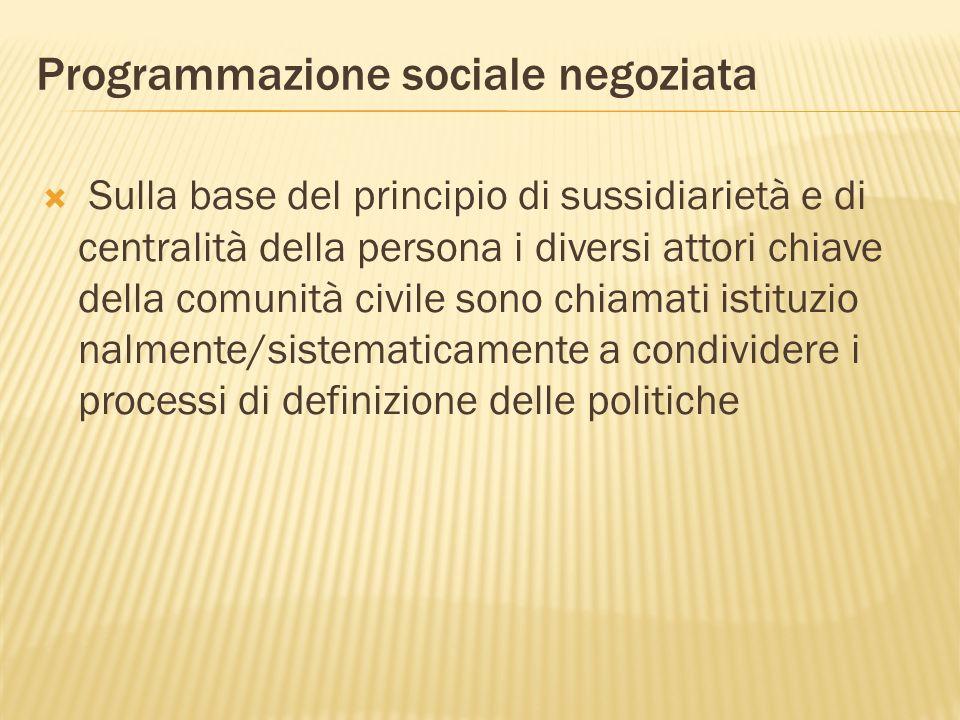 Programmazione sociale negoziata Sulla base del principio di sussidiarietà e di centralità della persona i diversi attori chiave della comunità civile