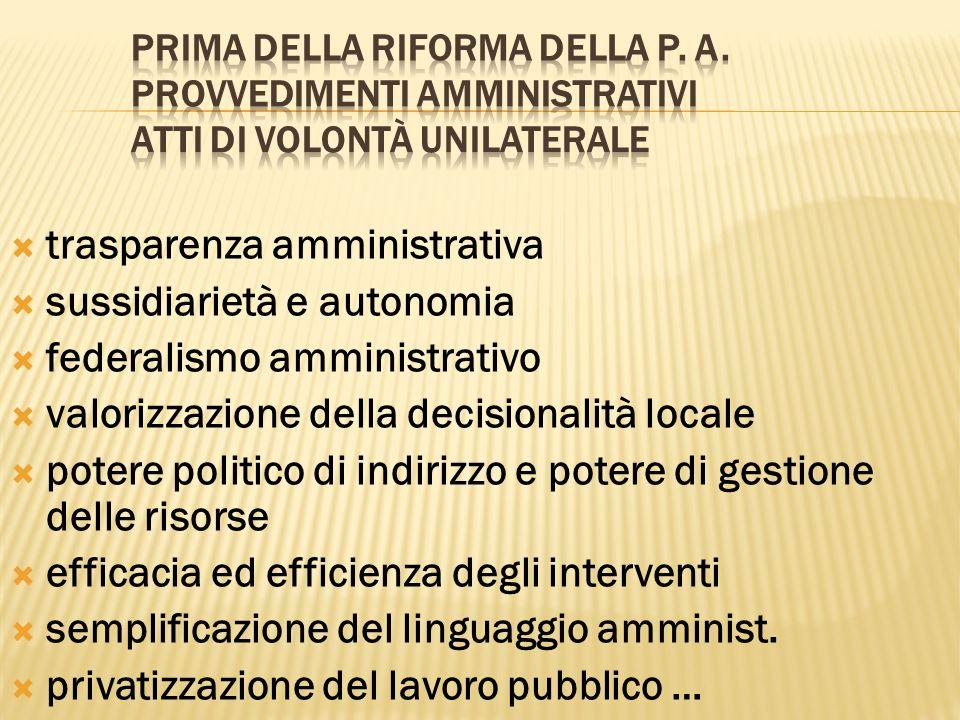 trasparenza amministrativa sussidiarietà e autonomia federalismo amministrativo valorizzazione della decisionalità locale potere politico di indirizzo