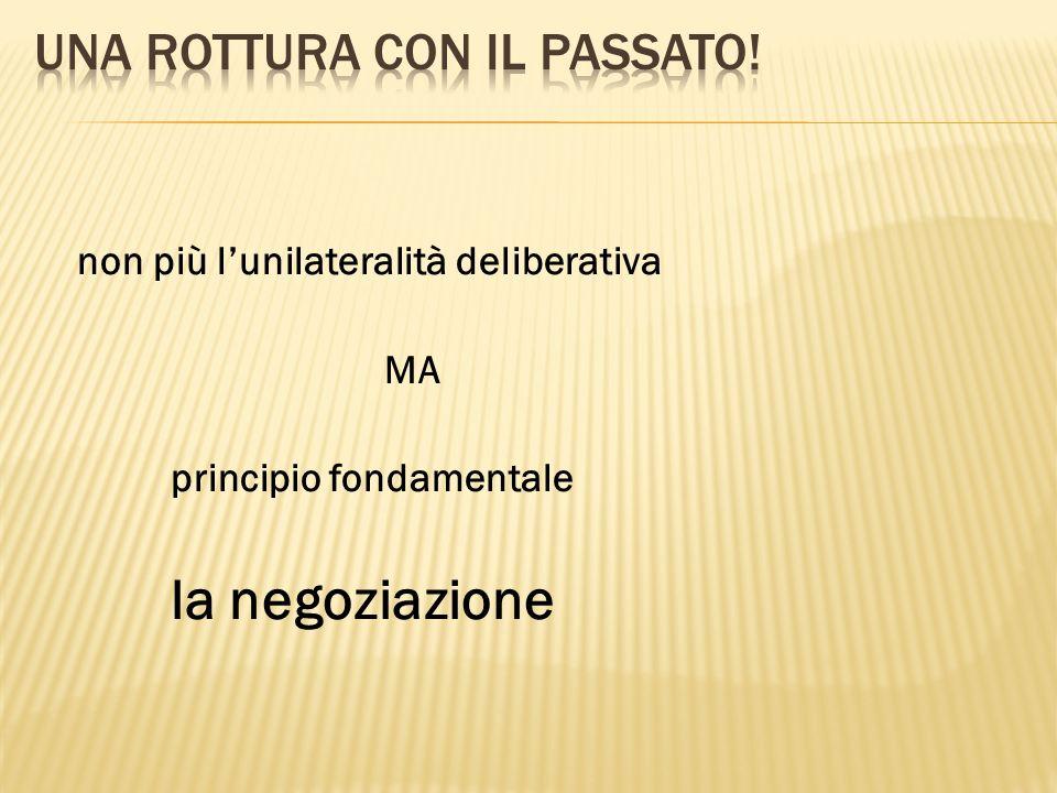 non più lunilateralità deliberativa MA principio fondamentale la negoziazione