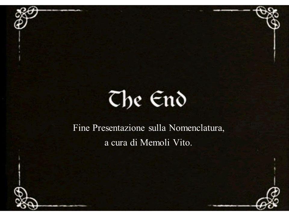 Fine Presentazione sulla Nomenclatura, a cura di Memoli Vito.