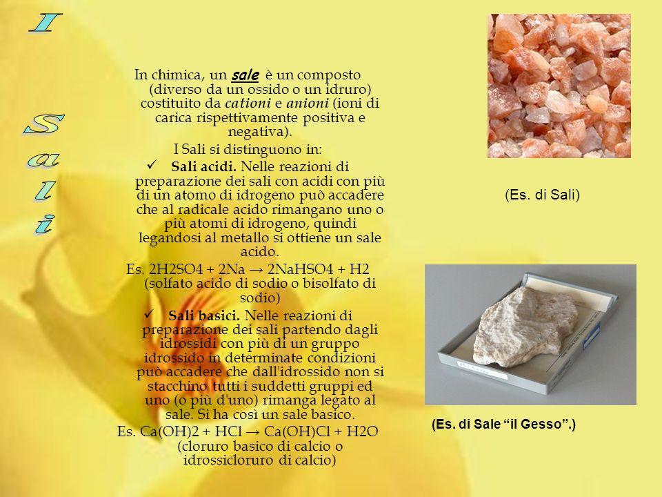In chimica, un sale è un composto (diverso da un ossido o un idruro) costituito da c ationi e a nioni (ioni di carica rispettivamente positiva e negativa).