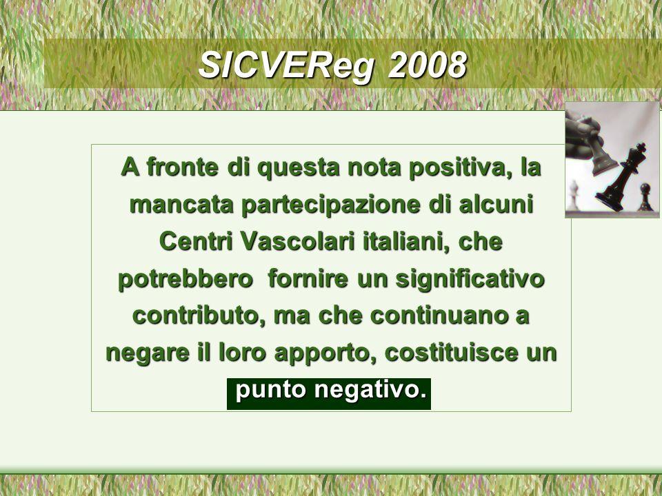 A fronte di questa nota positiva, la mancata partecipazione di alcuni Centri Vascolari italiani, che potrebbero fornire un significativo contributo, ma che continuano a negare il loro apporto, costituisce un punto negativo.