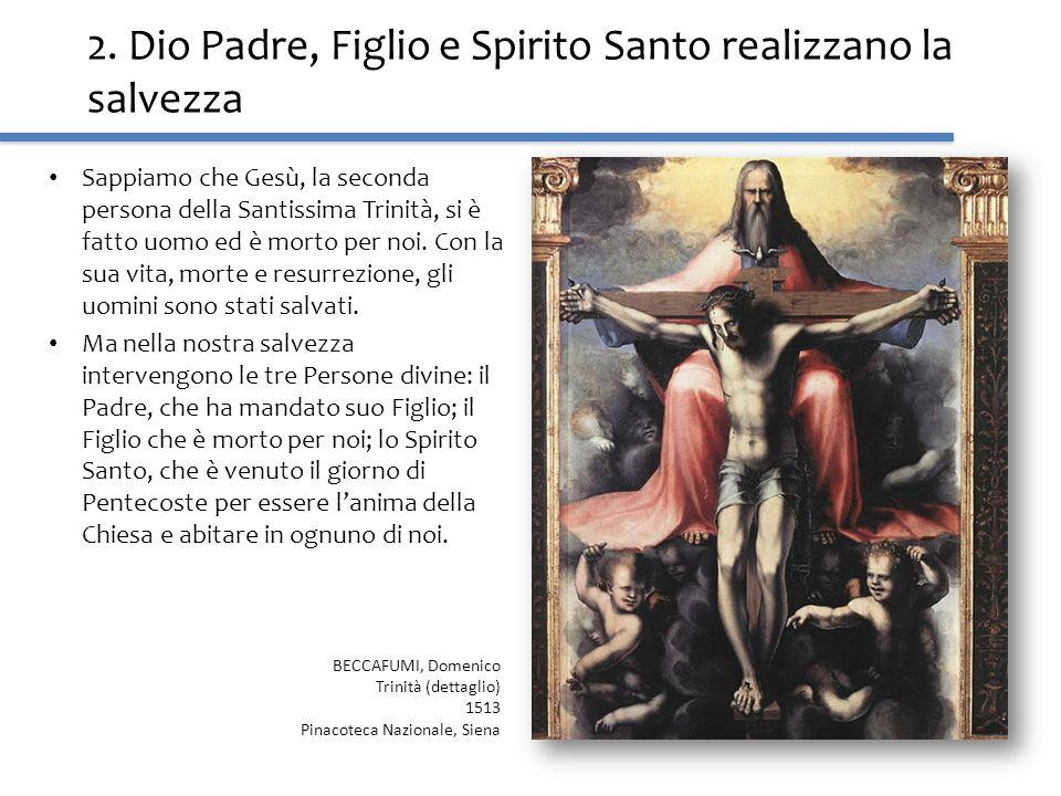 2. Dio Padre, Figlio e Spirito Santo realizzano la salvezza Sappiamo che Gesù, la seconda persona della Santissima Trinità, si è fatto uomo ed è morto