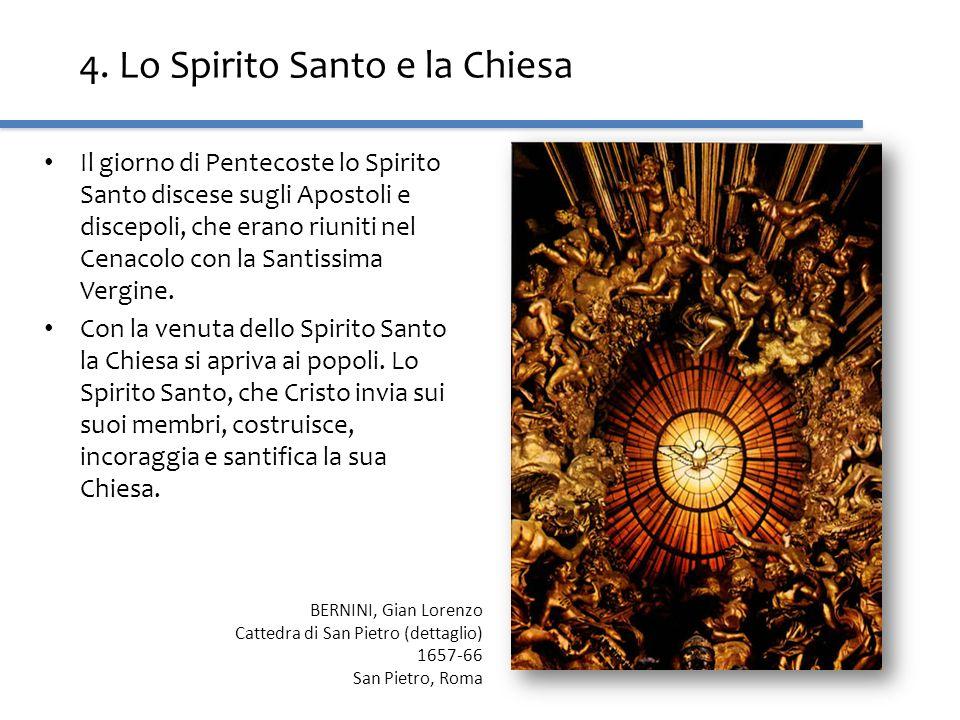 4. Lo Spirito Santo e la Chiesa Il giorno di Pentecoste lo Spirito Santo discese sugli Apostoli e discepoli, che erano riuniti nel Cenacolo con la San