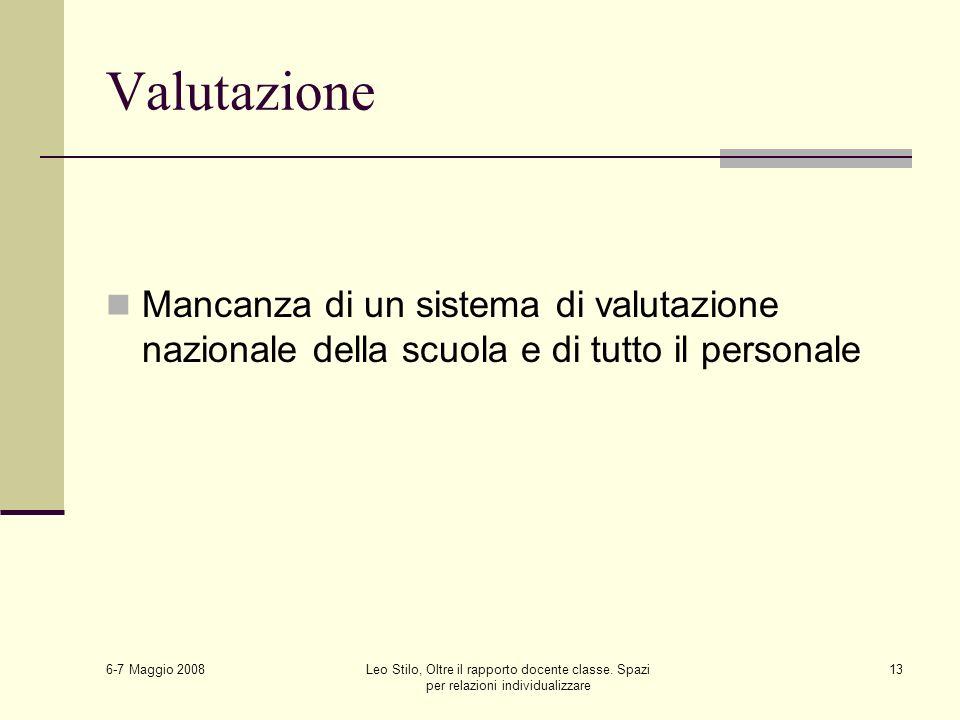 6-7 Maggio 2008 Leo Stilo, Oltre il rapporto docente classe. Spazi per relazioni individualizzare 13 Valutazione Mancanza di un sistema di valutazione