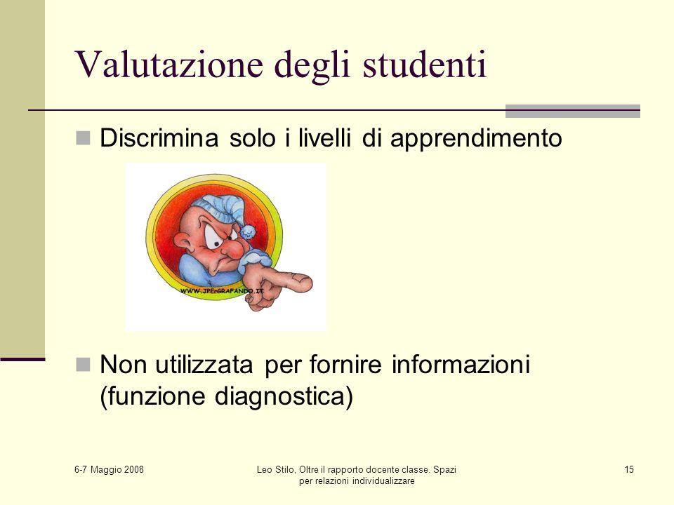 6-7 Maggio 2008 Leo Stilo, Oltre il rapporto docente classe. Spazi per relazioni individualizzare 15 Valutazione degli studenti Discrimina solo i live