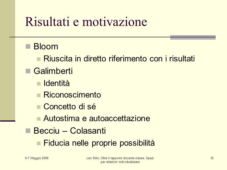 6-7 Maggio 2008 Leo Stilo, Oltre il rapporto docente classe. Spazi per relazioni individualizzare 16 Risultati e motivazione Bloom Riuscita in diretto