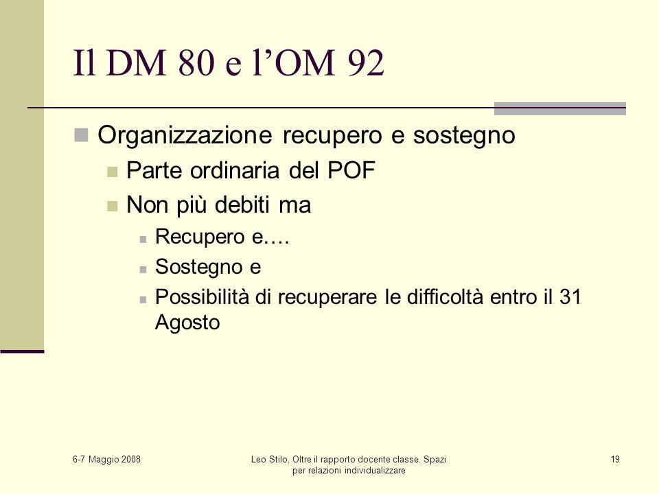 6-7 Maggio 2008 Leo Stilo, Oltre il rapporto docente classe. Spazi per relazioni individualizzare 19 Il DM 80 e lOM 92 Organizzazione recupero e soste