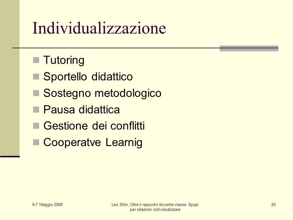6-7 Maggio 2008 Leo Stilo, Oltre il rapporto docente classe. Spazi per relazioni individualizzare 20 Individualizzazione Tutoring Sportello didattico