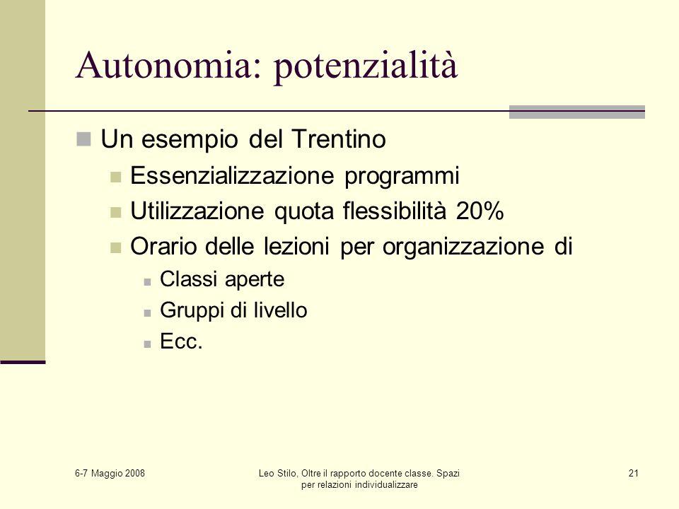 6-7 Maggio 2008 Leo Stilo, Oltre il rapporto docente classe. Spazi per relazioni individualizzare 21 Autonomia: potenzialità Un esempio del Trentino E