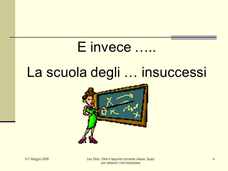 6-7 Maggio 2008 Leo Stilo, Oltre il rapporto docente classe. Spazi per relazioni individualizzare 4 E invece ….. La scuola degli … insuccessi
