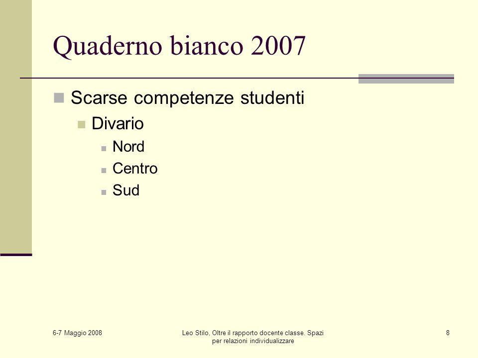 6-7 Maggio 2008 Leo Stilo, Oltre il rapporto docente classe. Spazi per relazioni individualizzare 8 Quaderno bianco 2007 Scarse competenze studenti Di