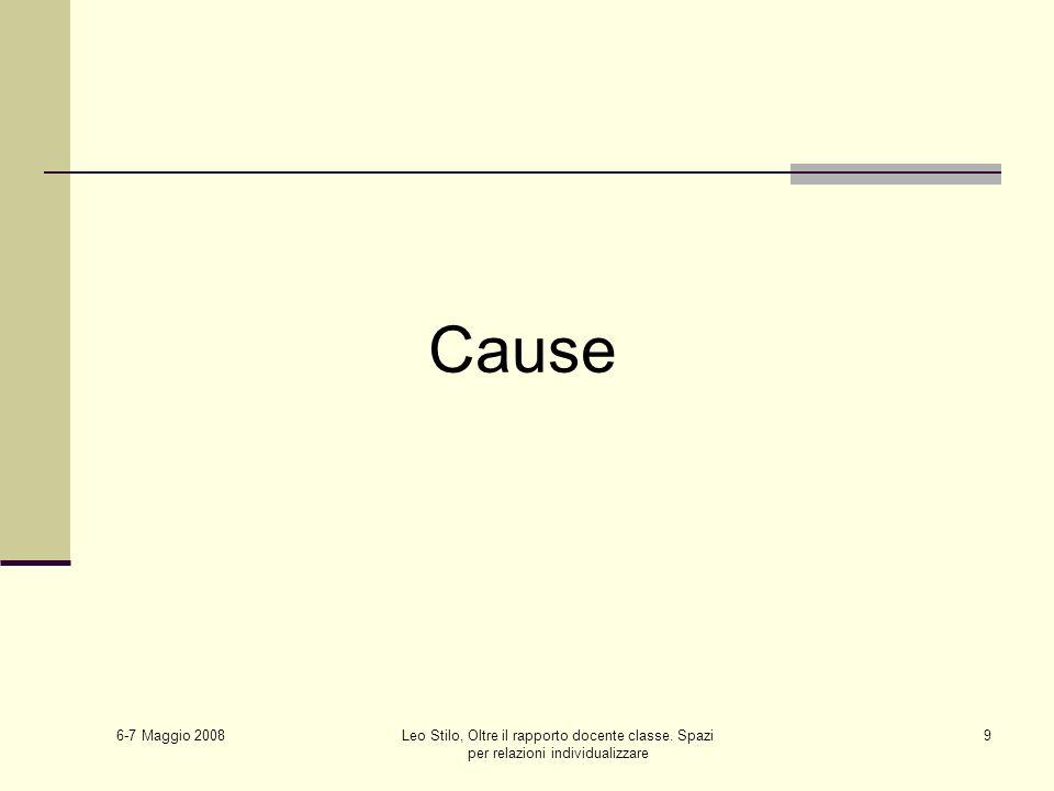 6-7 Maggio 2008 Leo Stilo, Oltre il rapporto docente classe. Spazi per relazioni individualizzare 9 Cause