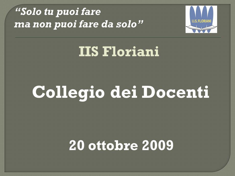 Solo tu puoi fare ma non puoi fare da solo IIS Floriani Collegio dei Docenti 20 ottobre 2009