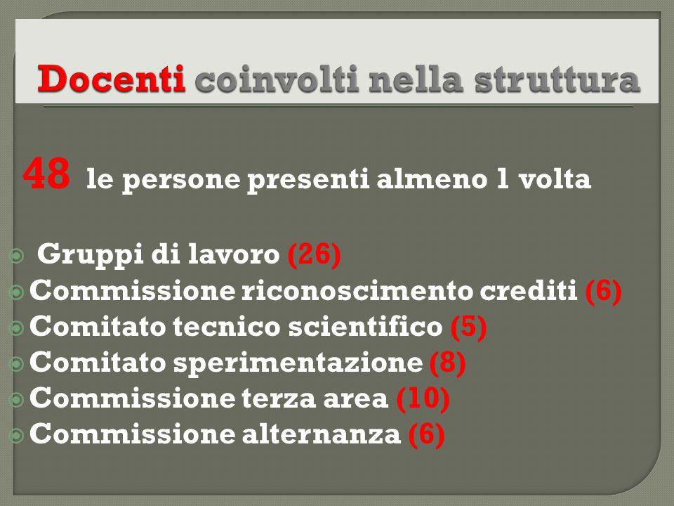 48 le persone presenti almeno 1 volta Gruppi di lavoro (26) Commissione riconoscimento crediti (6) Comitato tecnico scientifico (5) Comitato speriment