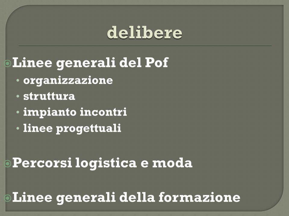 Linee generali del Pof organizzazione struttura impianto incontri linee progettuali Percorsi logistica e moda Linee generali della formazione