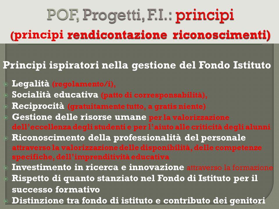 Principi ispiratori nella gestione del Fondo Istituto Legalità (regolamento/i), Socialità educativa (patto di corresponsabilità), Reciprocità (gratuit