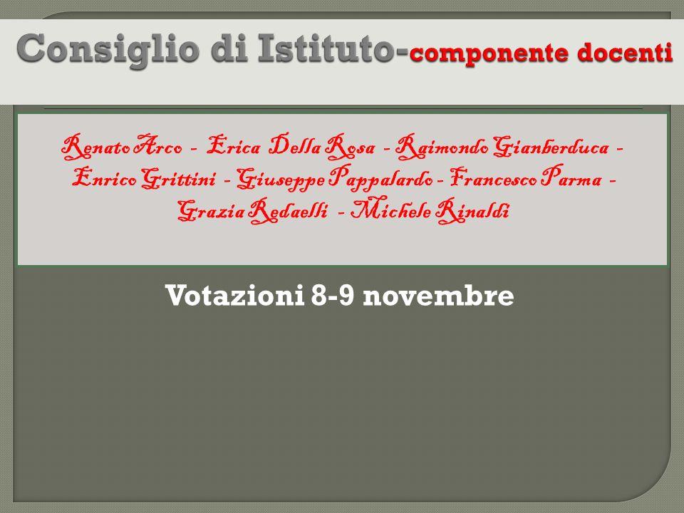 Votazioni 8-9 novembre Renato Arco - Erica Della Rosa - Raimondo Gianberduca - Enrico Grittini - Giuseppe Pappalardo - Francesco Parma - Grazia Redael