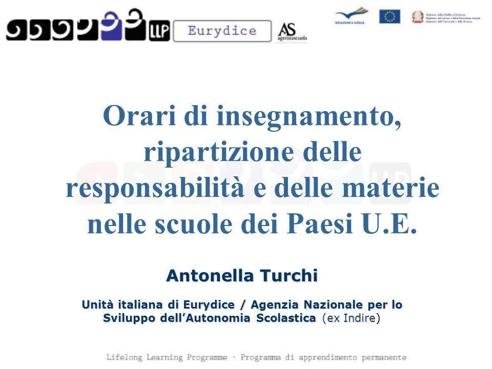 Orari di insegnamento, ripartizione delle responsabilità e delle materie nelle scuole dei Paesi U.E. Antonella Turchi Unità italiana di Eurydice / Age
