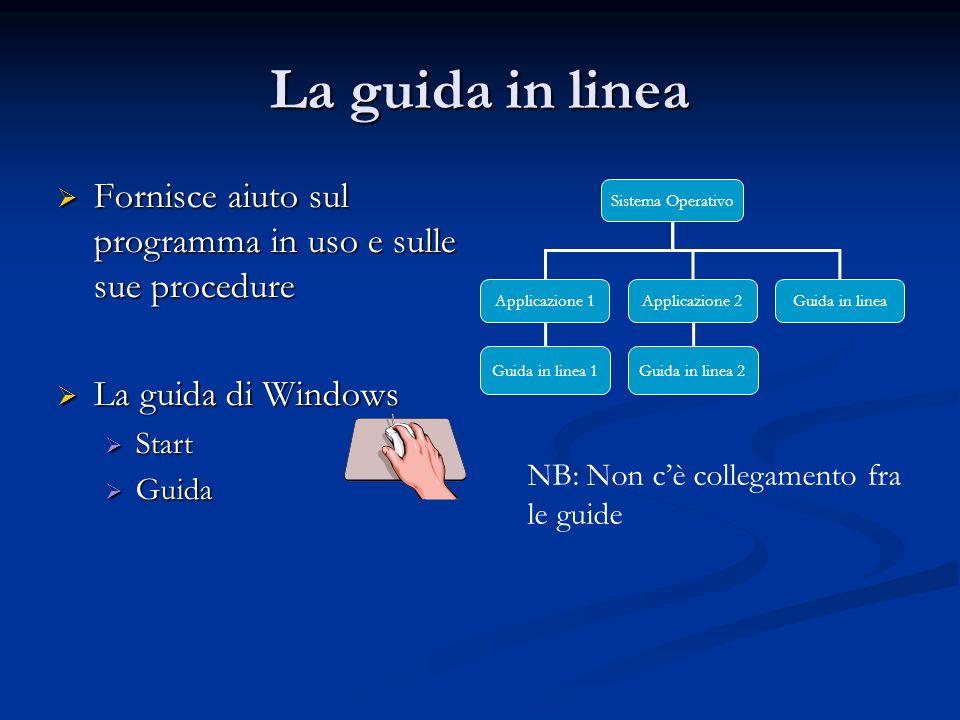 La guida in linea Fornisce aiuto sul programma in uso e sulle sue procedure Fornisce aiuto sul programma in uso e sulle sue procedure La guida di Wind