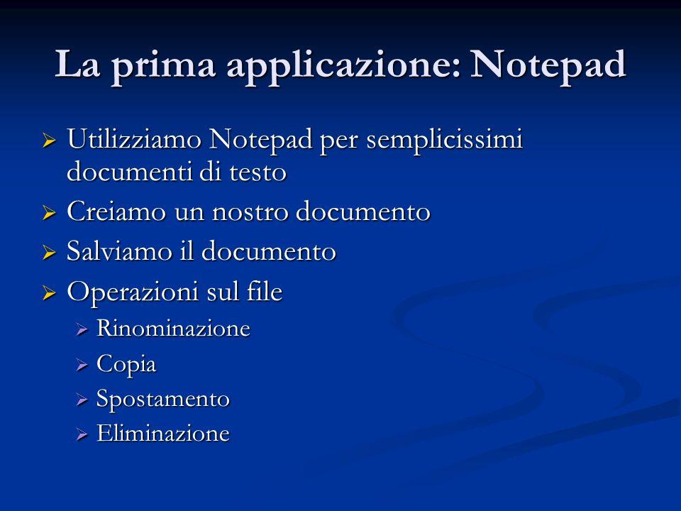 La prima applicazione: Notepad Utilizziamo Notepad per semplicissimi documenti di testo Utilizziamo Notepad per semplicissimi documenti di testo Creia