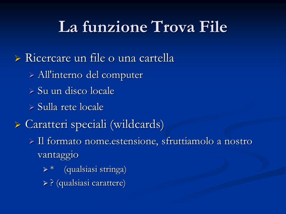 La funzione Trova File Ricercare un file o una cartella Ricercare un file o una cartella All'interno del computer All'interno del computer Su un disco