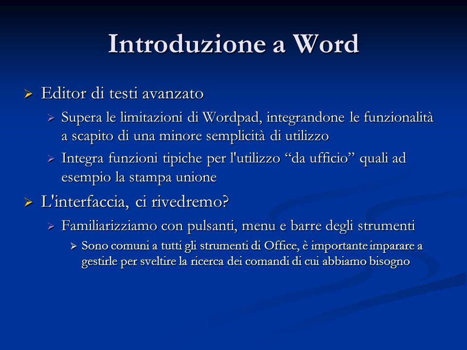Introduzione a Word Editor di testi avanzato Editor di testi avanzato Supera le limitazioni di Wordpad, integrandone le funzionalità a scapito di una