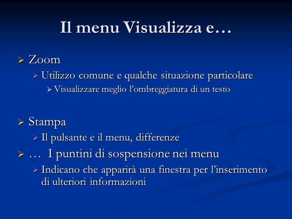 Il menu Visualizza e… Zoom Zoom Utilizzo comune e qualche situazione particolare Utilizzo comune e qualche situazione particolare Visualizzare meglio