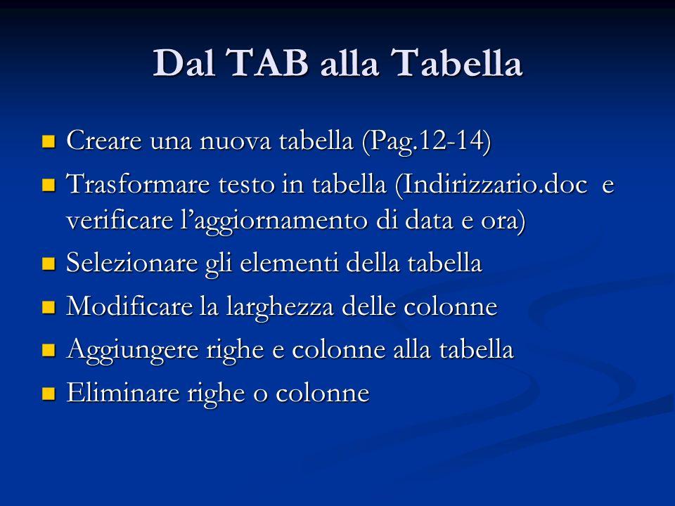 Dal TAB alla Tabella Creare una nuova tabella (Pag.12-14) Creare una nuova tabella (Pag.12-14) Trasformare testo in tabella (Indirizzario.doc e verifi