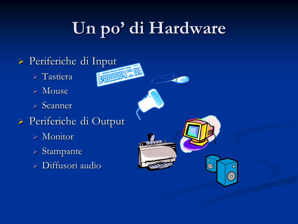 Software Sistema Operativo Sistema Operativo Dos Dos Windows 95, 98, ME, 2000, XP Windows 95, 98, ME, 2000, XP Linux Linux Applicazione Applicazione Word, Excel, PowerPoint… Word, Excel, PowerPoint… Driver Driver Piloti per periferiche Piloti per periferiche PC Driver Sistema Operativo Applicazioni Documenti